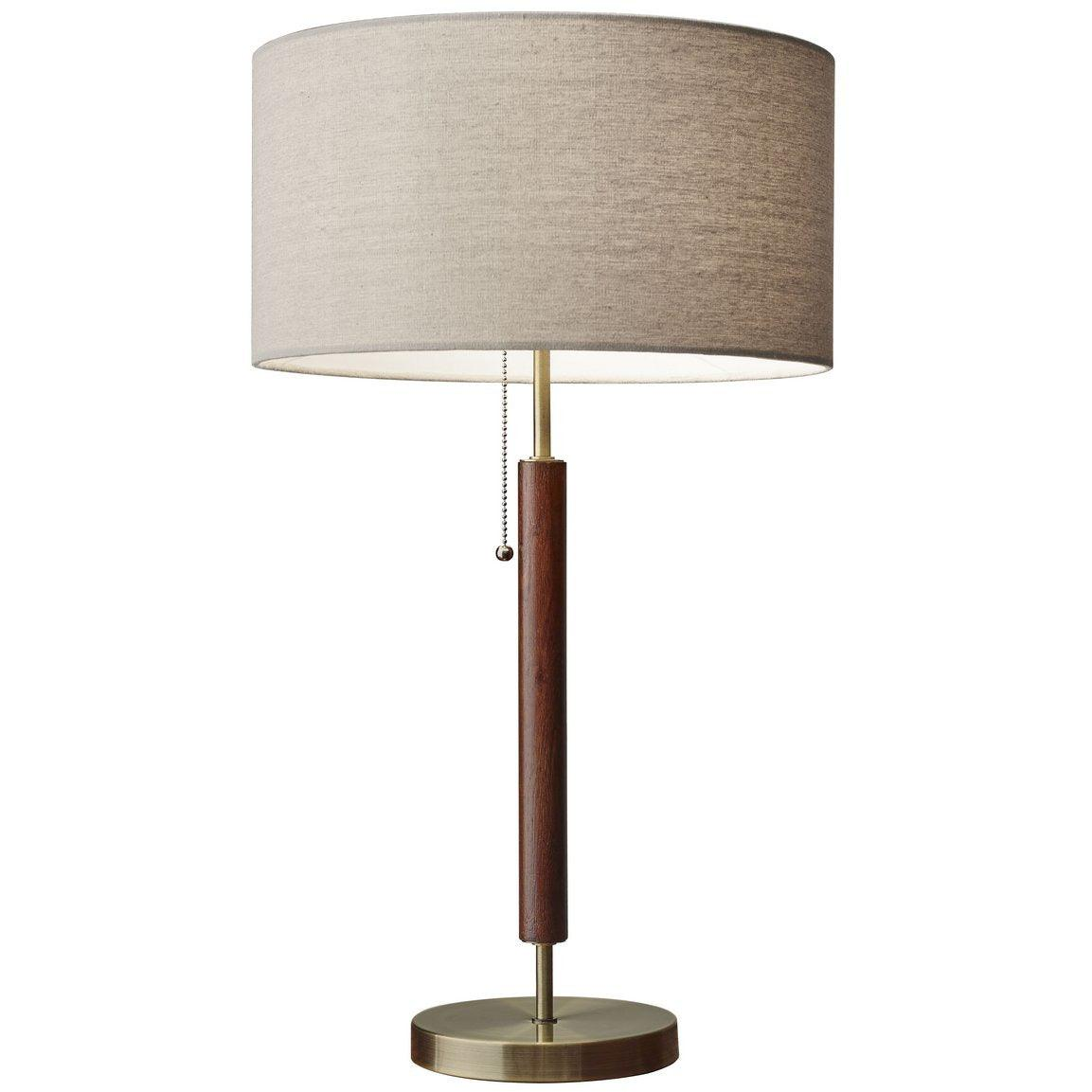 Adesso Home - 3376-15 - One Light Table Lamp - Hamilton - Walnut Eucalyptus Wood/antique brass