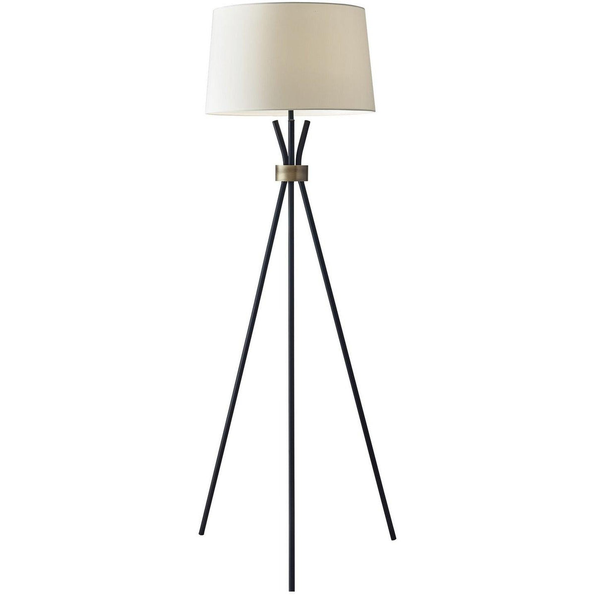 Adesso Home - 3835-01 - One Light Floor Lamp - Benson - Black w. antique brass accent