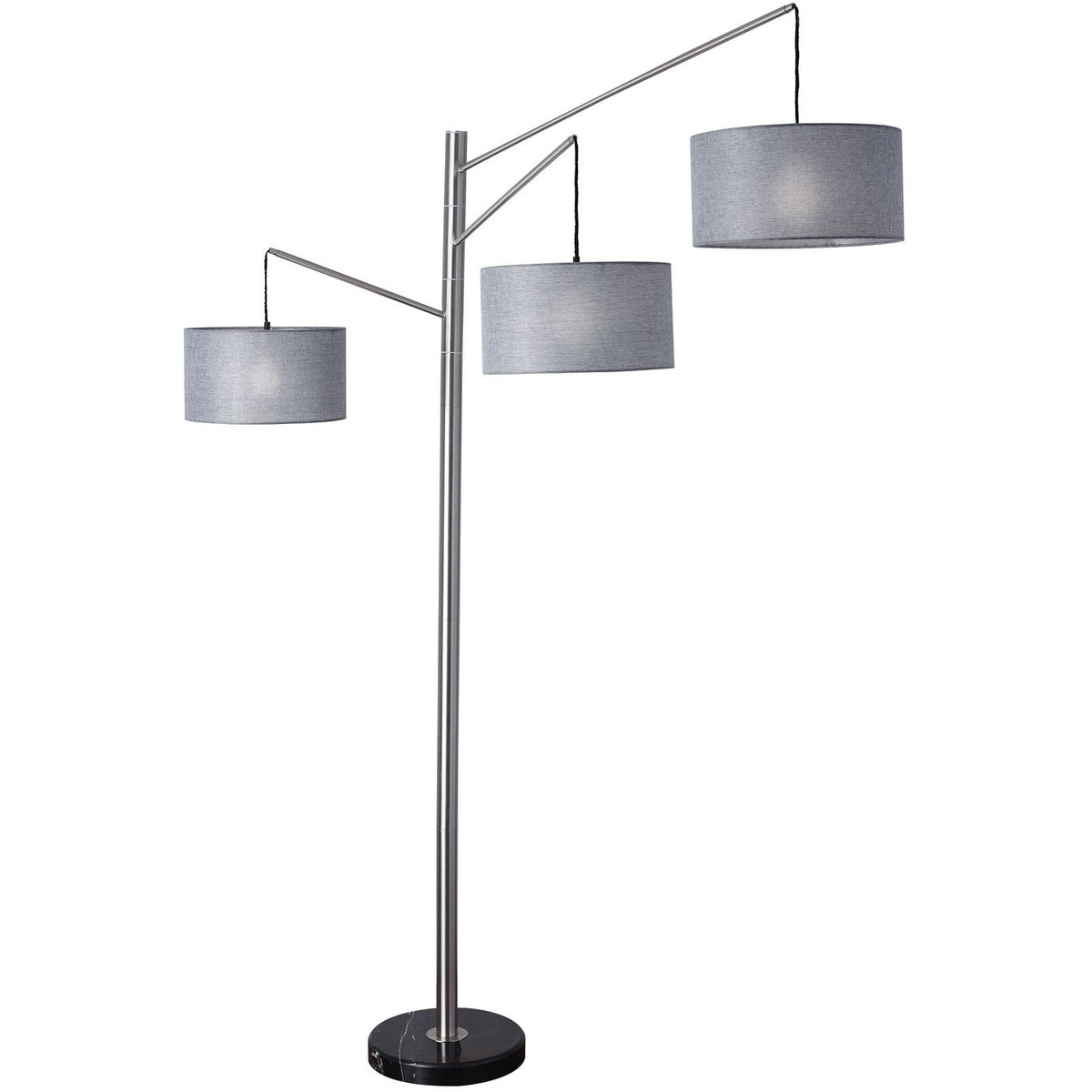 Adesso Home - 4255-22 - Three Light Floor Lamp - Wellington - Brushed Steel
