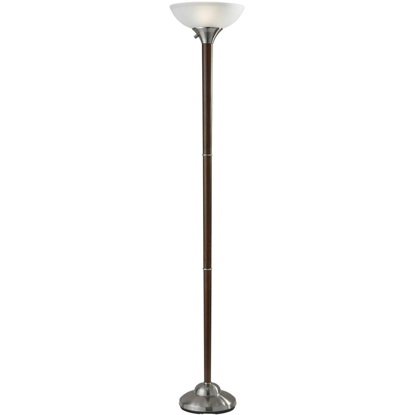 Adesso Home - 7207-15 - Two Light Floor Lamp - Alta - Walnut rubber Wood w. brushed steel accent