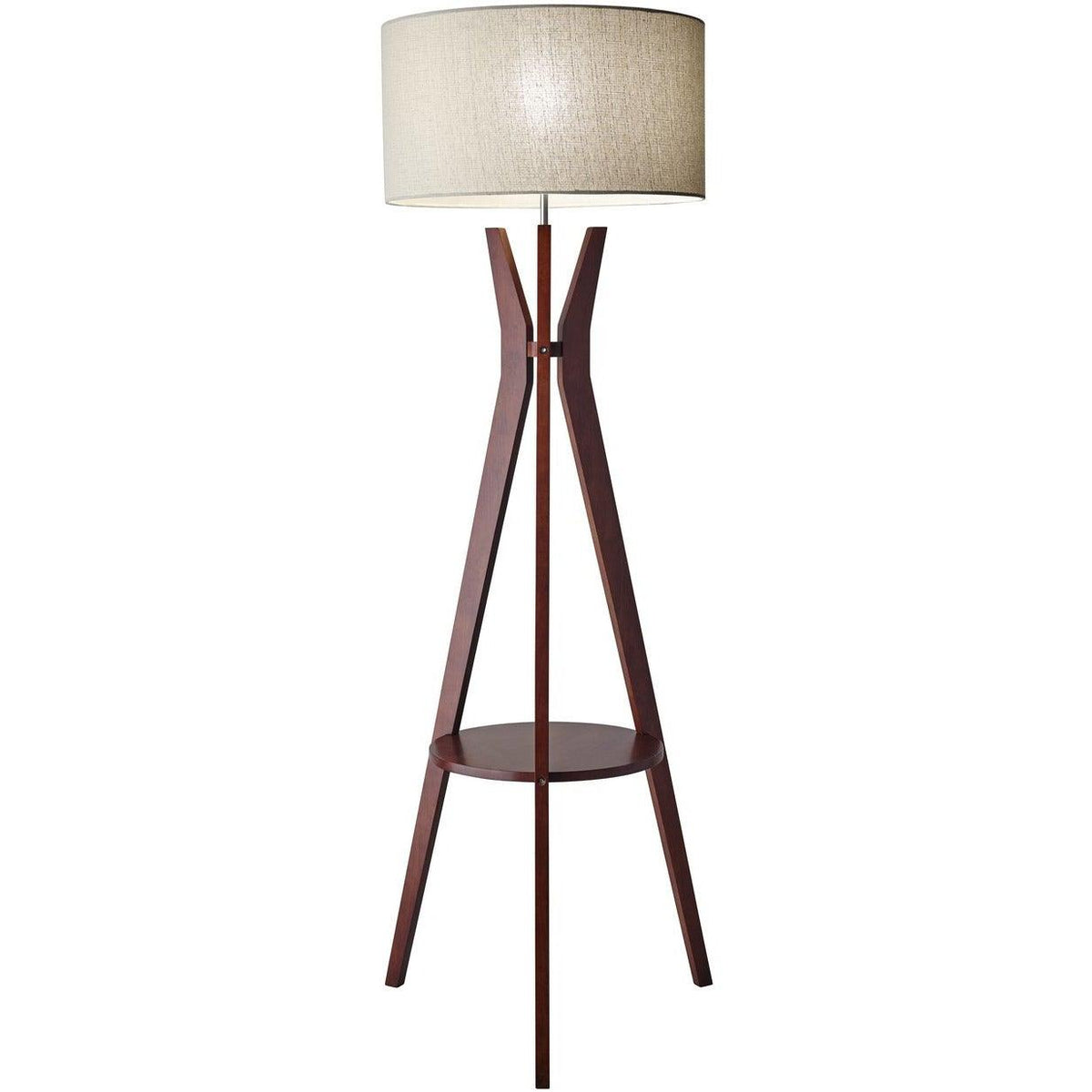 Adesso Home - 3471-15 - One Light Floor Lamp - Bedford - Solid Walnut Wood