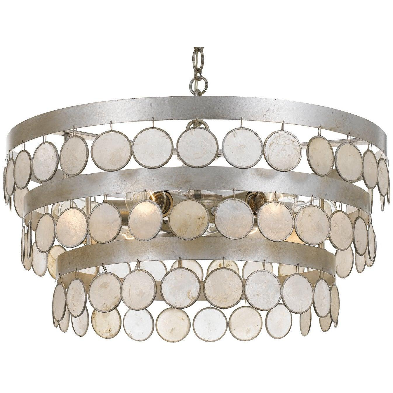 Crystorama - 6006-SA - Six Light Chandelier - Coco - Antique Silver