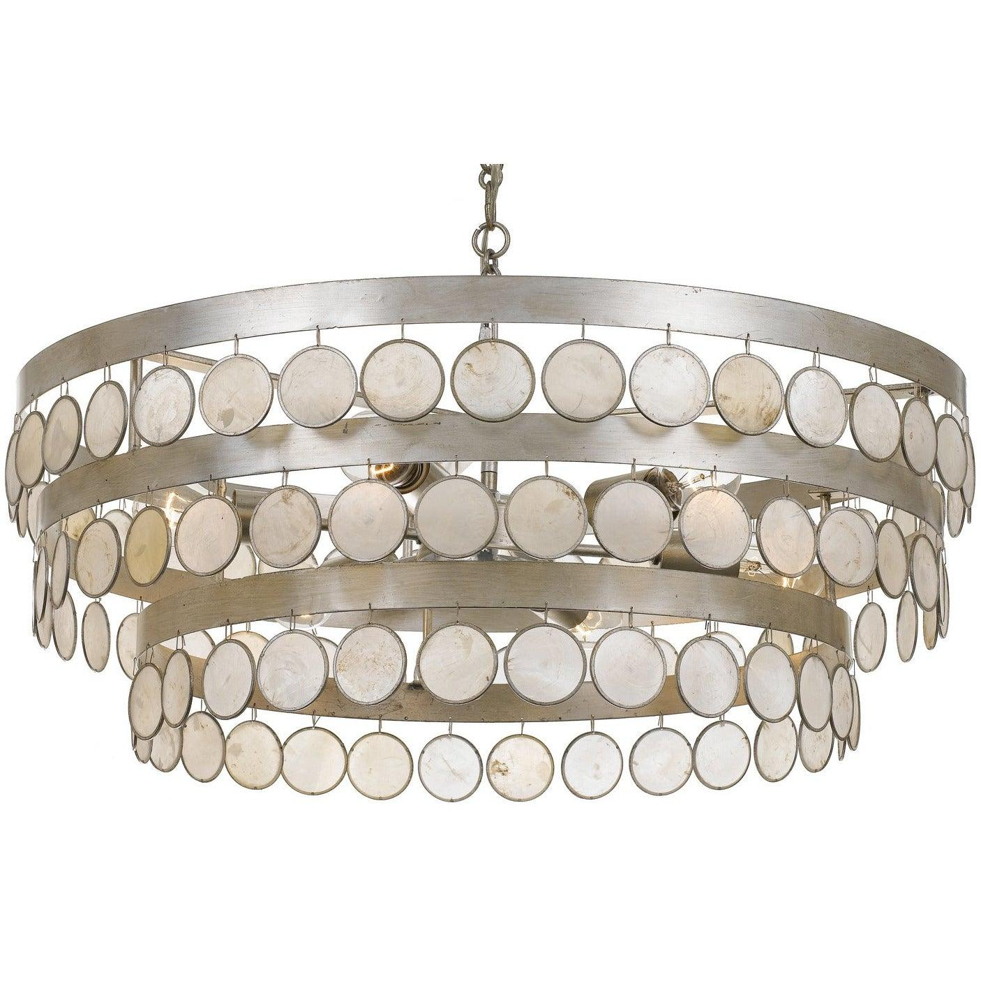 Crystorama - 6008-SA - Six Light Chandelier - Coco - Antique Silver