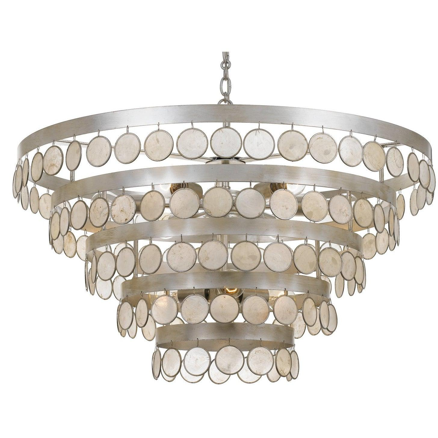 Crystorama - 6009-SA - Nine Light Chandelier - Coco - Antique Silver