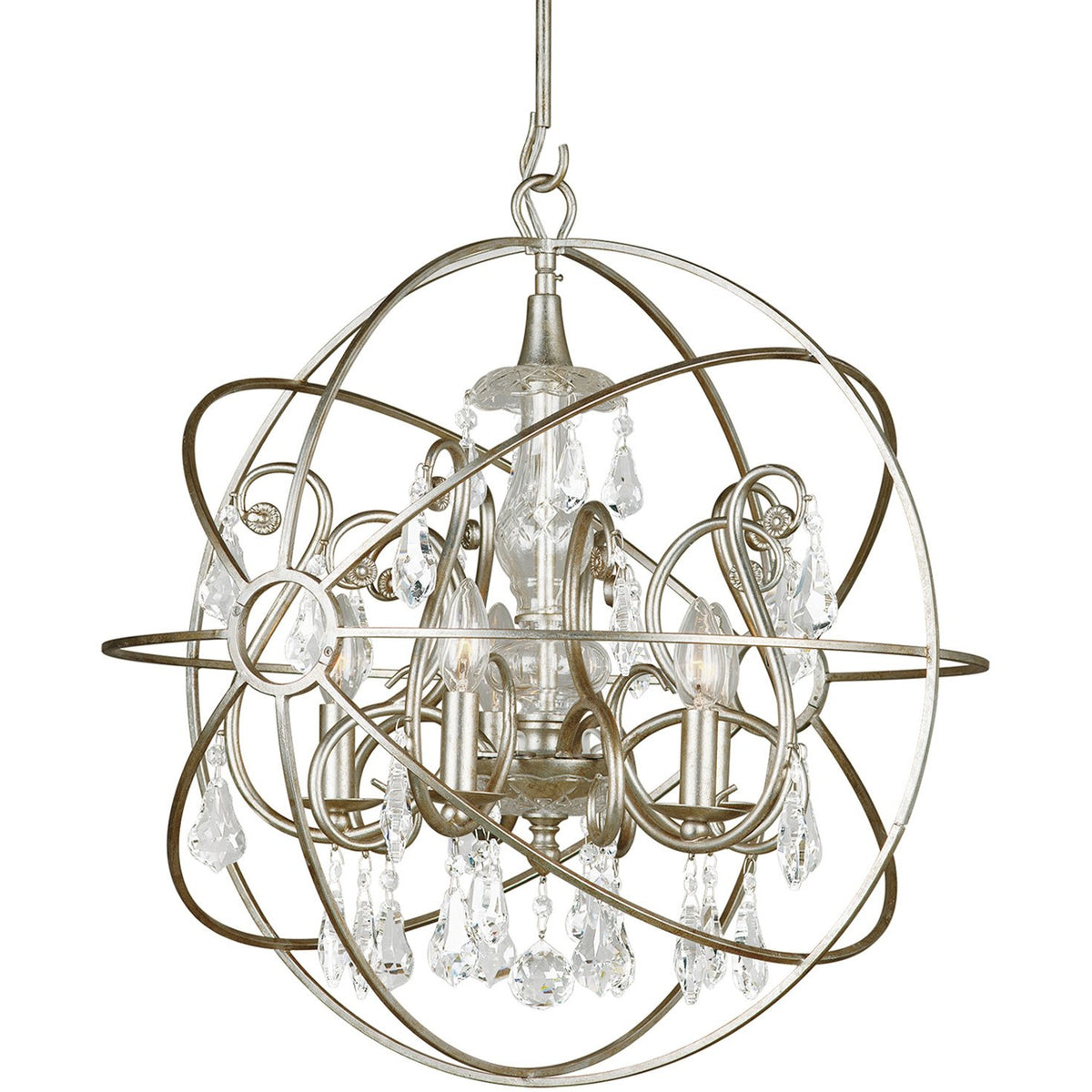 Crystorama - 9026-OS-CL-S - Five Light Chandelier - Solaris - Olde Silver