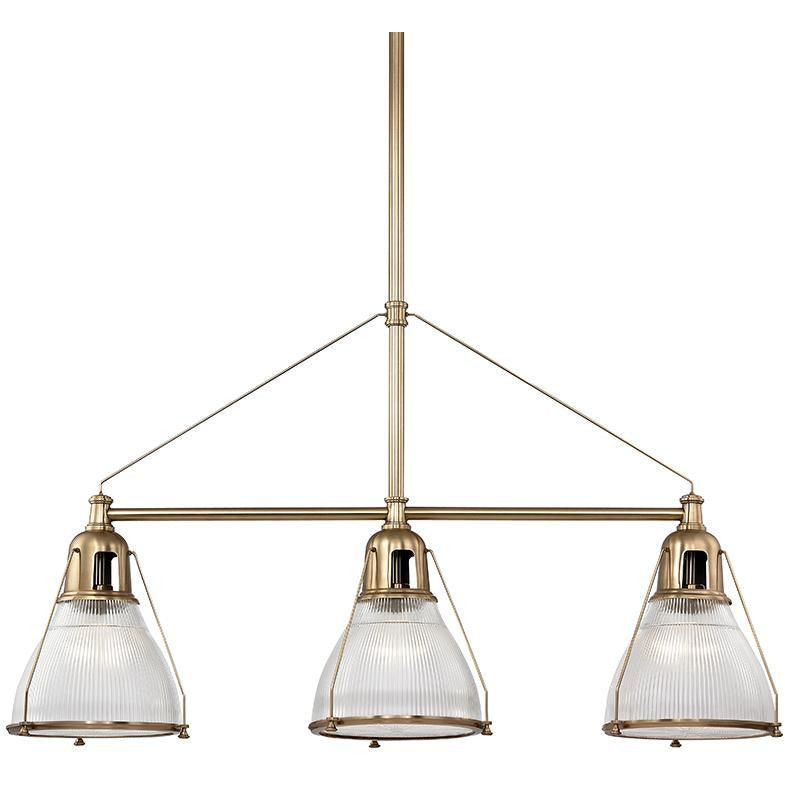 Hudson Valley - 7313-AGB - Three Light Island Pendant - Haverhill - Aged Brass