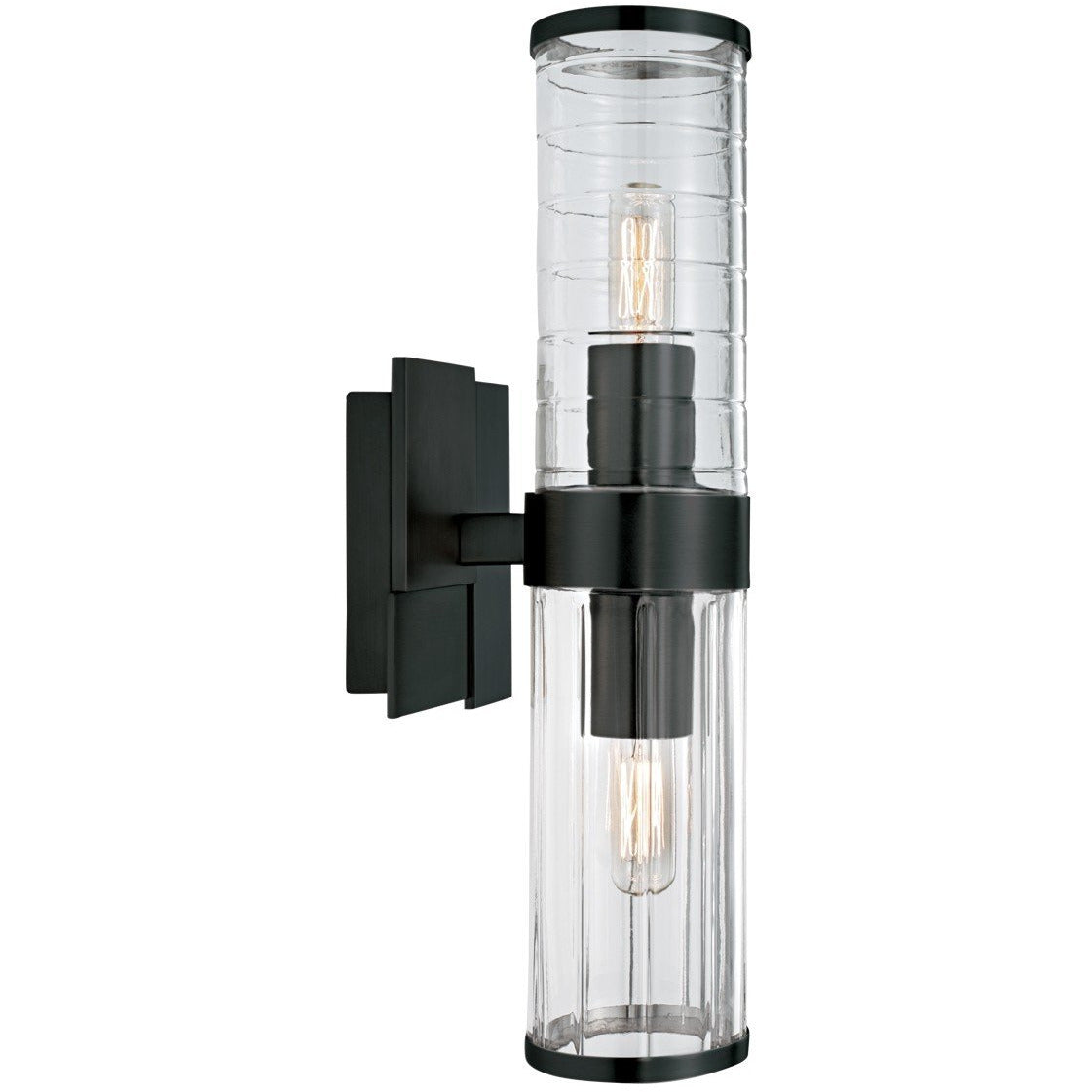 Norwell Lighting - 8149-MB-CL - Two Light Wall Sconce - Stripe - Matte Black