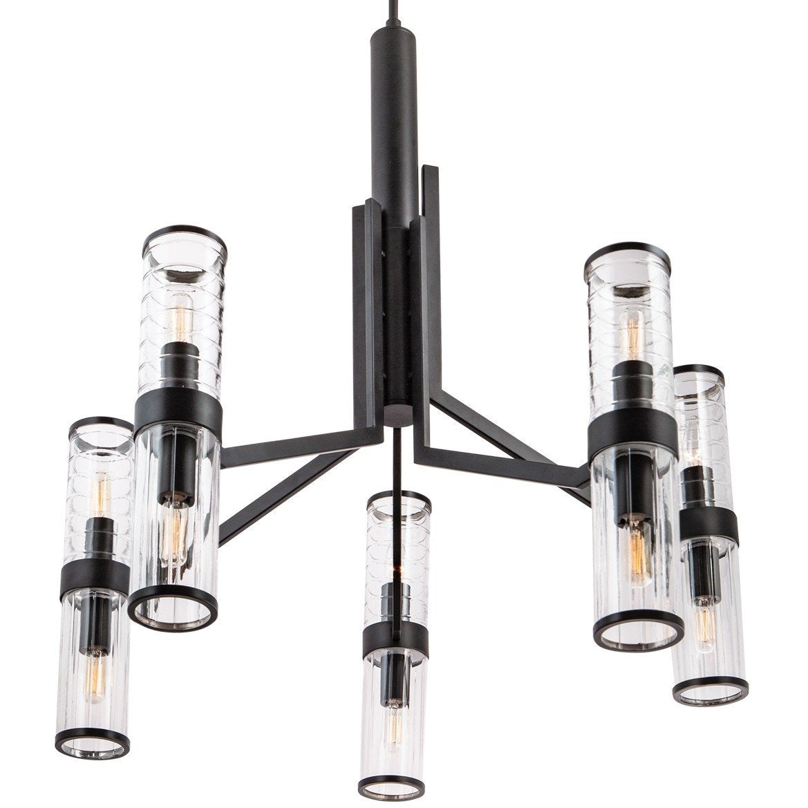 Norwell Lighting - 8150-MB-CL - Ten Light Chandelier - Stripe - Matte Black