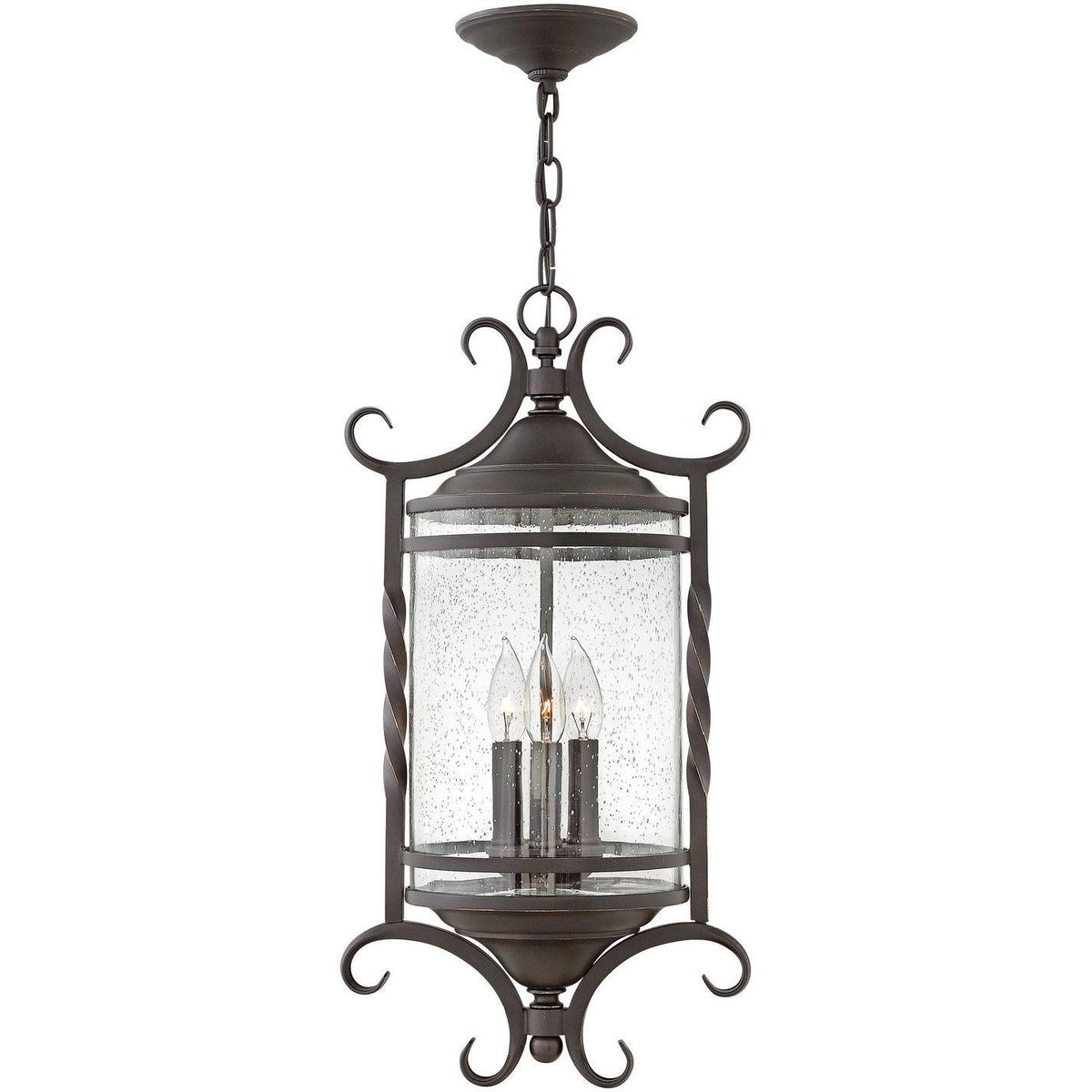 Hinkley Canada - 1147OL-CL - Three Light Hanging Lantern - Casa - Olde Black With Clear Seedy Glass