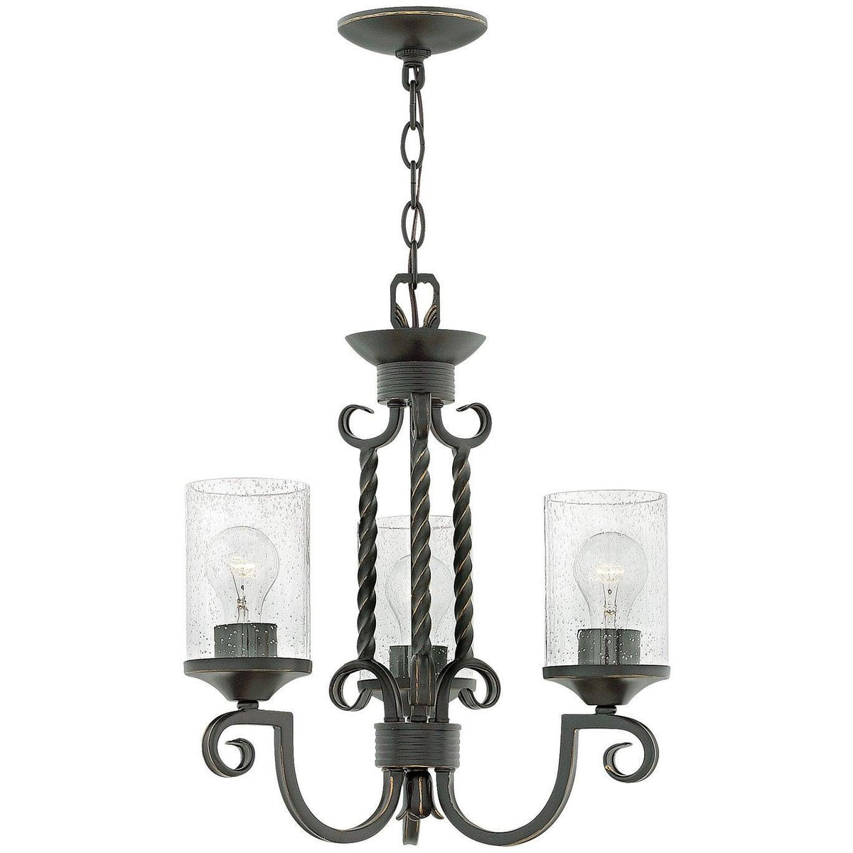 Hinkley Canada - 4013OL-CL - Three Light Chandelier - Casa - Olde Black With Clear Seedy Glass