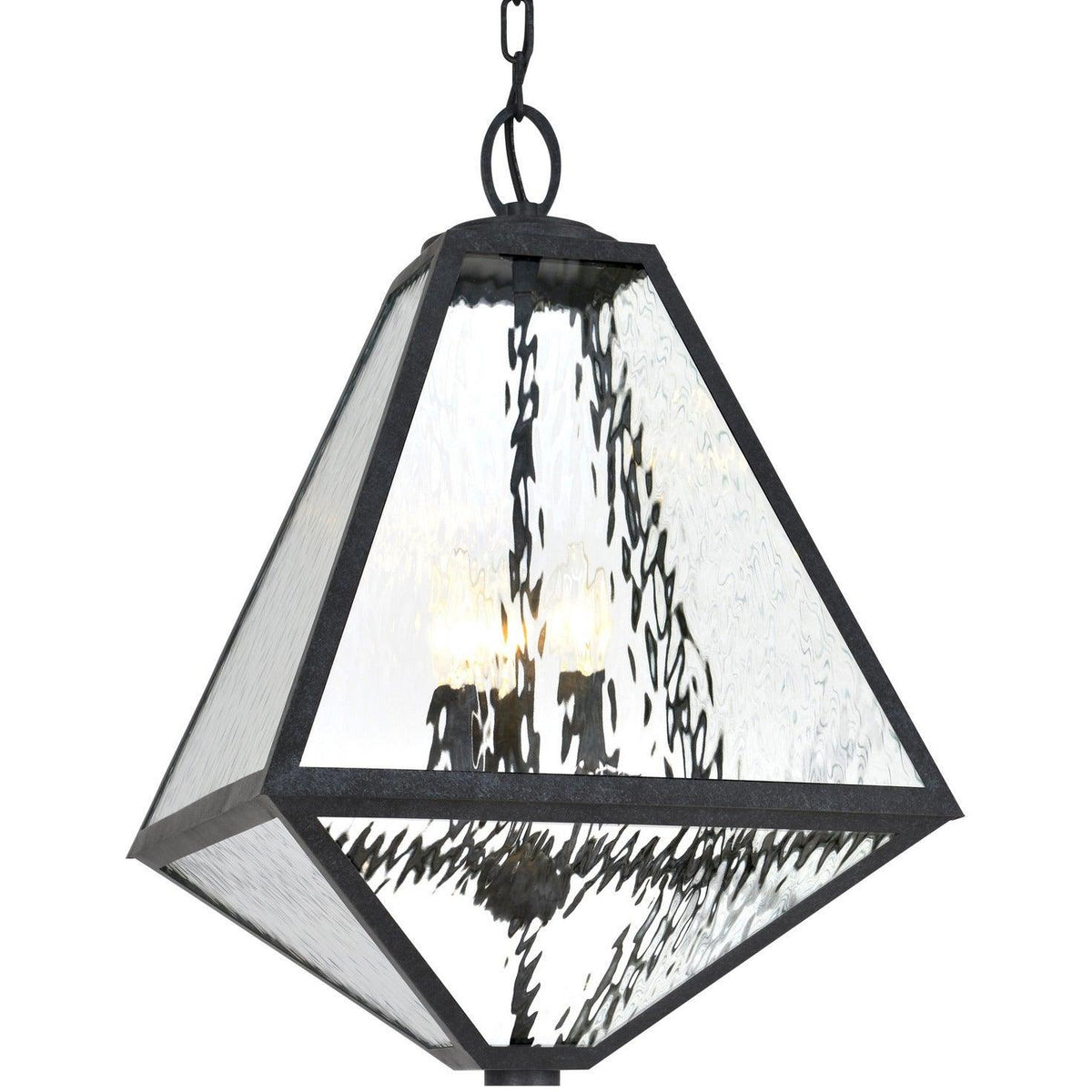 Crystorama - GLA-9705-WT-BC - Three Light Outdoor Chandelier - Glacier - Black Charcoal