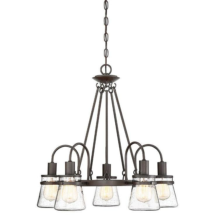 Savoy House - 1-3501-5-13 - Five Light Outdoor Chandelier - Portsmouth - English Bronze