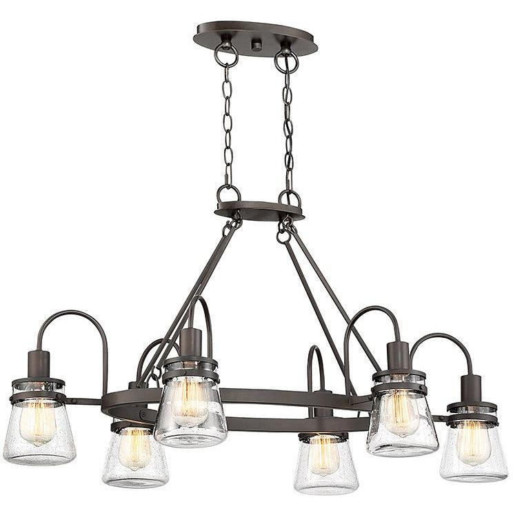 Savoy House - 1-3502-6-13 - Six Light Outdoor Chandelier - Portsmouth - English Bronze