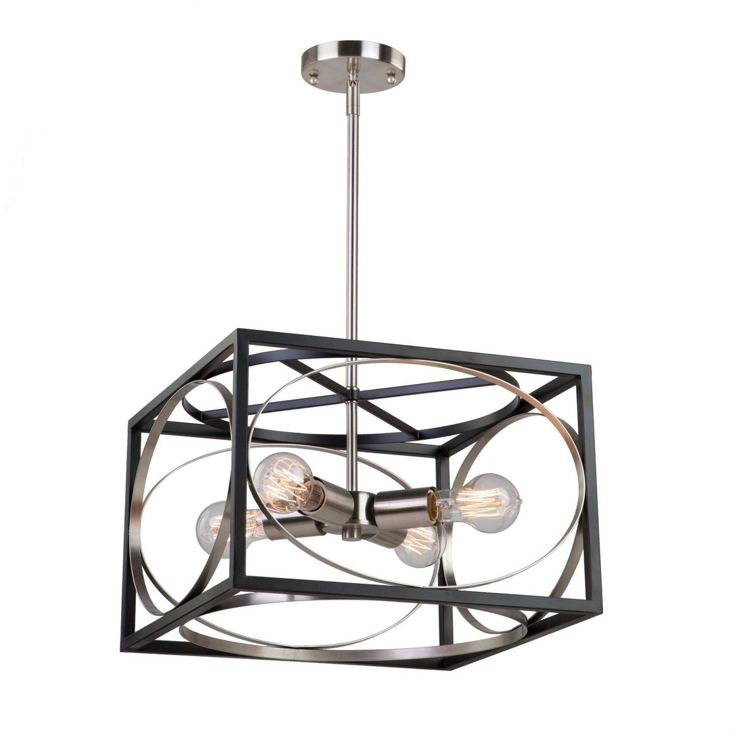 Artcraft Lighting - CL15094 - Four Light Chandelier - Corona - Black & Polished Nickel