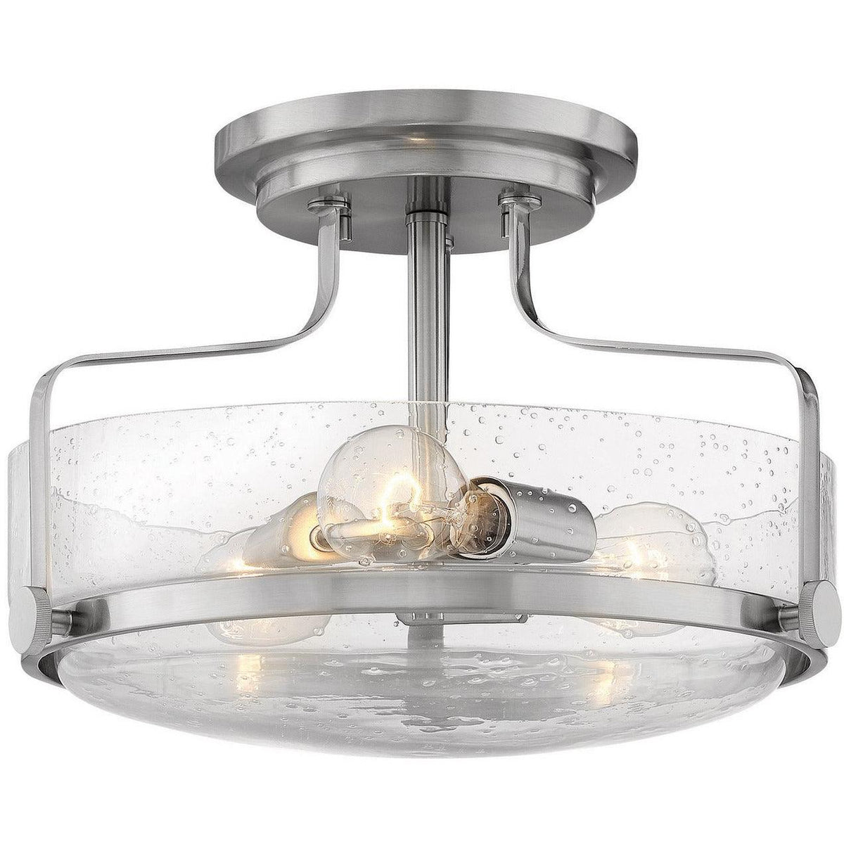 Hinkley Canada - 3641BN-CS - Three Light Semi-Flush Mount - Harper - Brushed Nickel With Clear Seedy Glass
