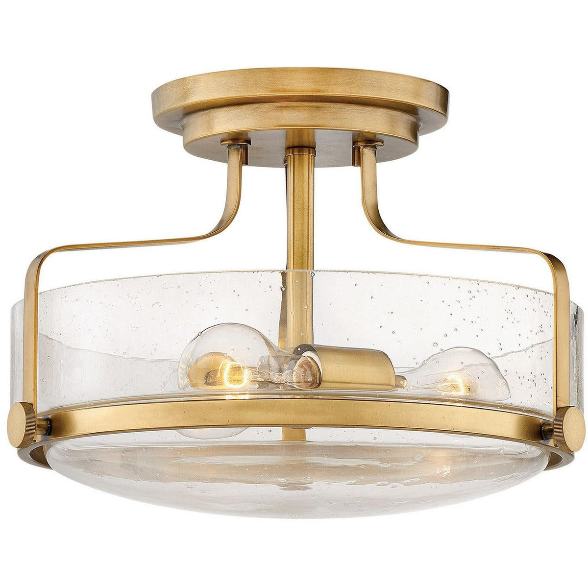 Hinkley Canada - 3641HB-CS - Three Light Semi-Flush Mount - Harper - Heritage Brass With Clear Seedy Glass