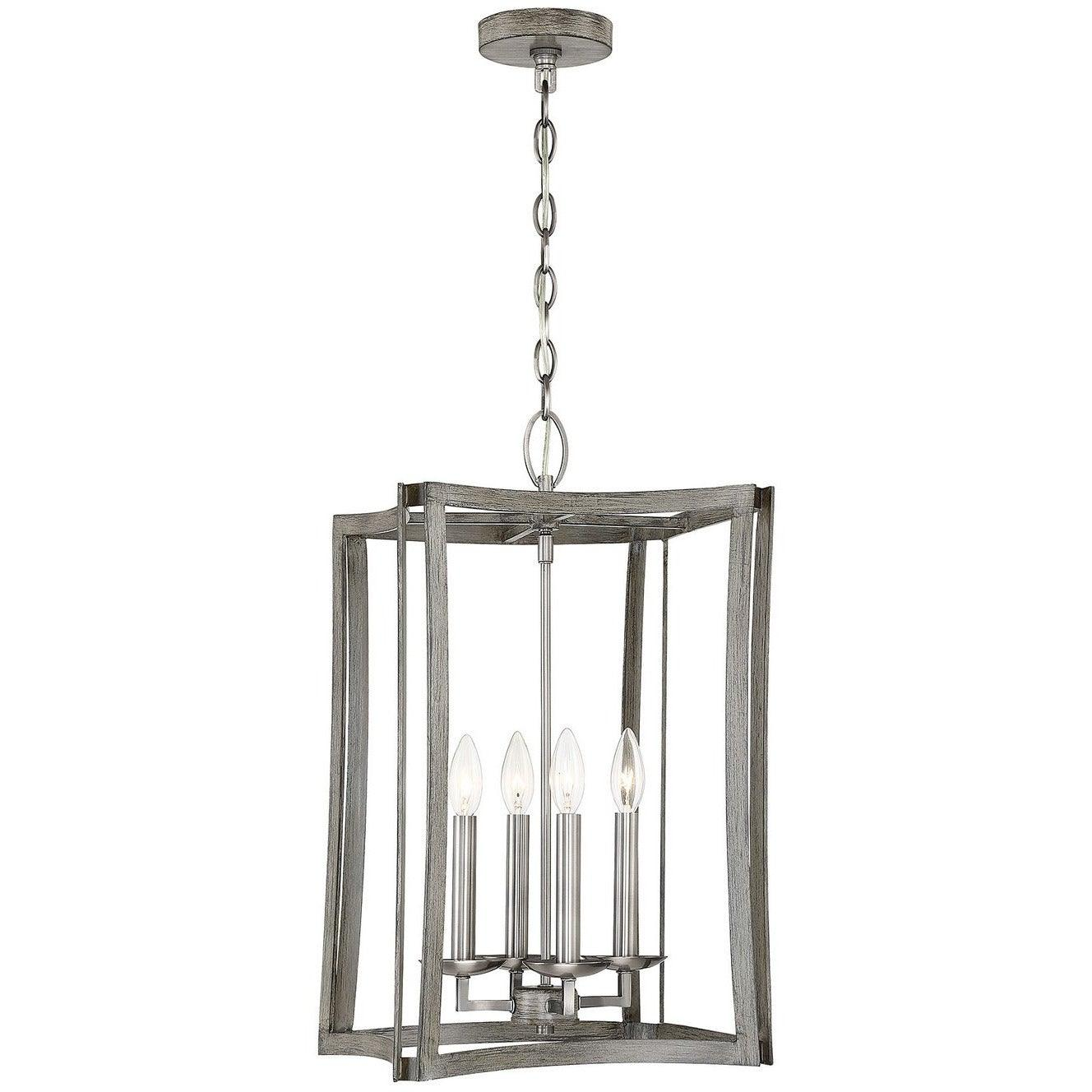 Savoy House - 3-0202-4-139 - Four Light Foyer Pendant - Brookline - Pewter & Greywood