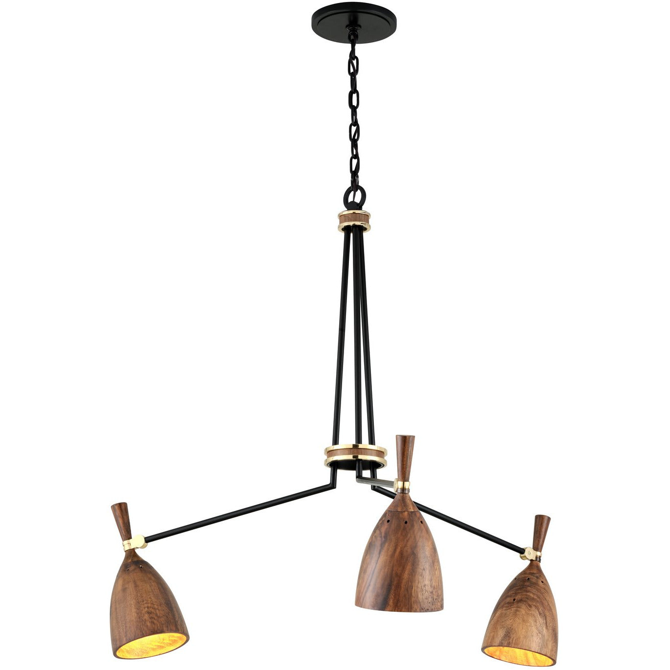 Corbett Lighting - 280-03 - Chandelier - Utopia - Black Brass Acacia Wood Shades - Martyn Lawrence Bullard