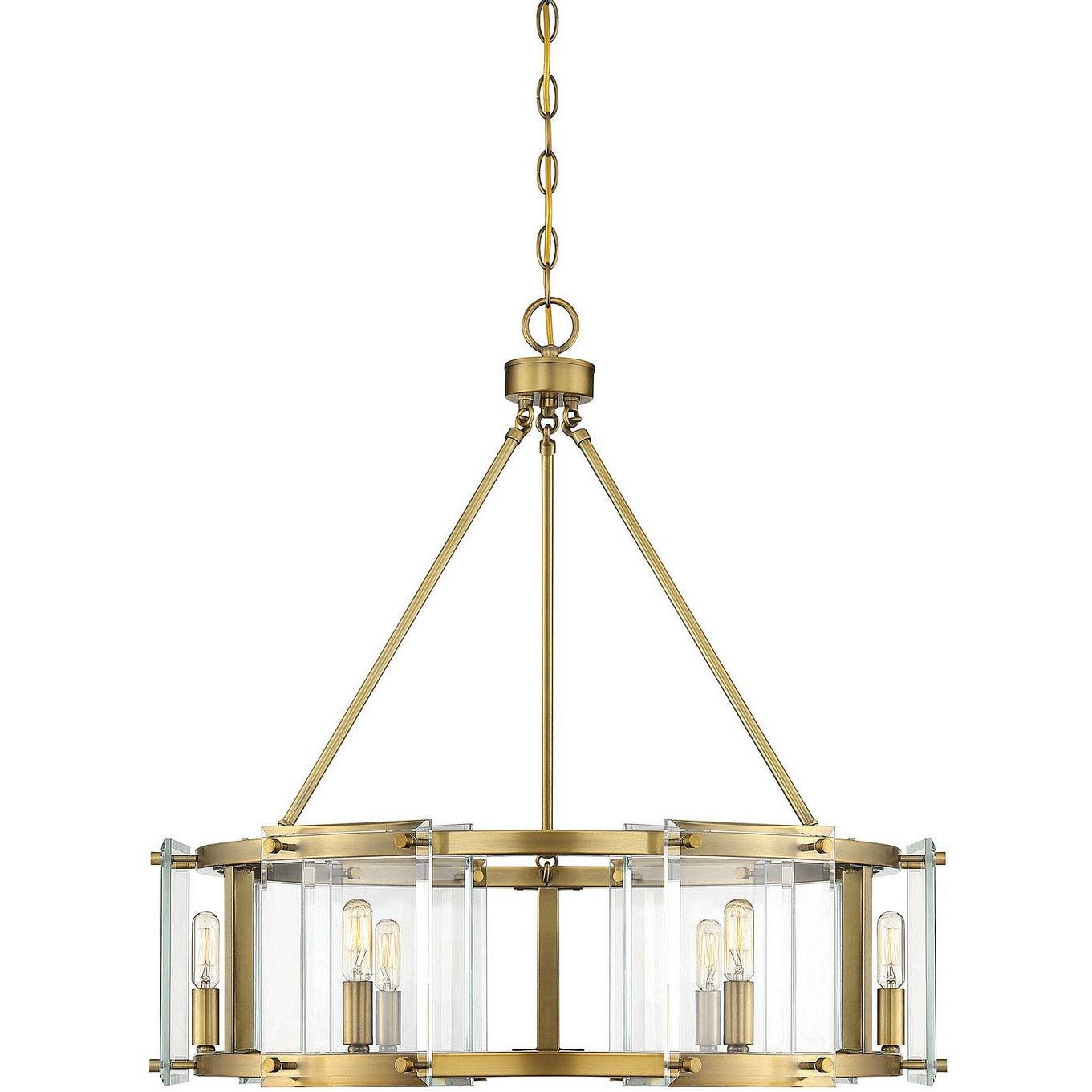 Savoy House - 7-0600-6-322 - Six Light Pendant - Prescott - Warm Brass