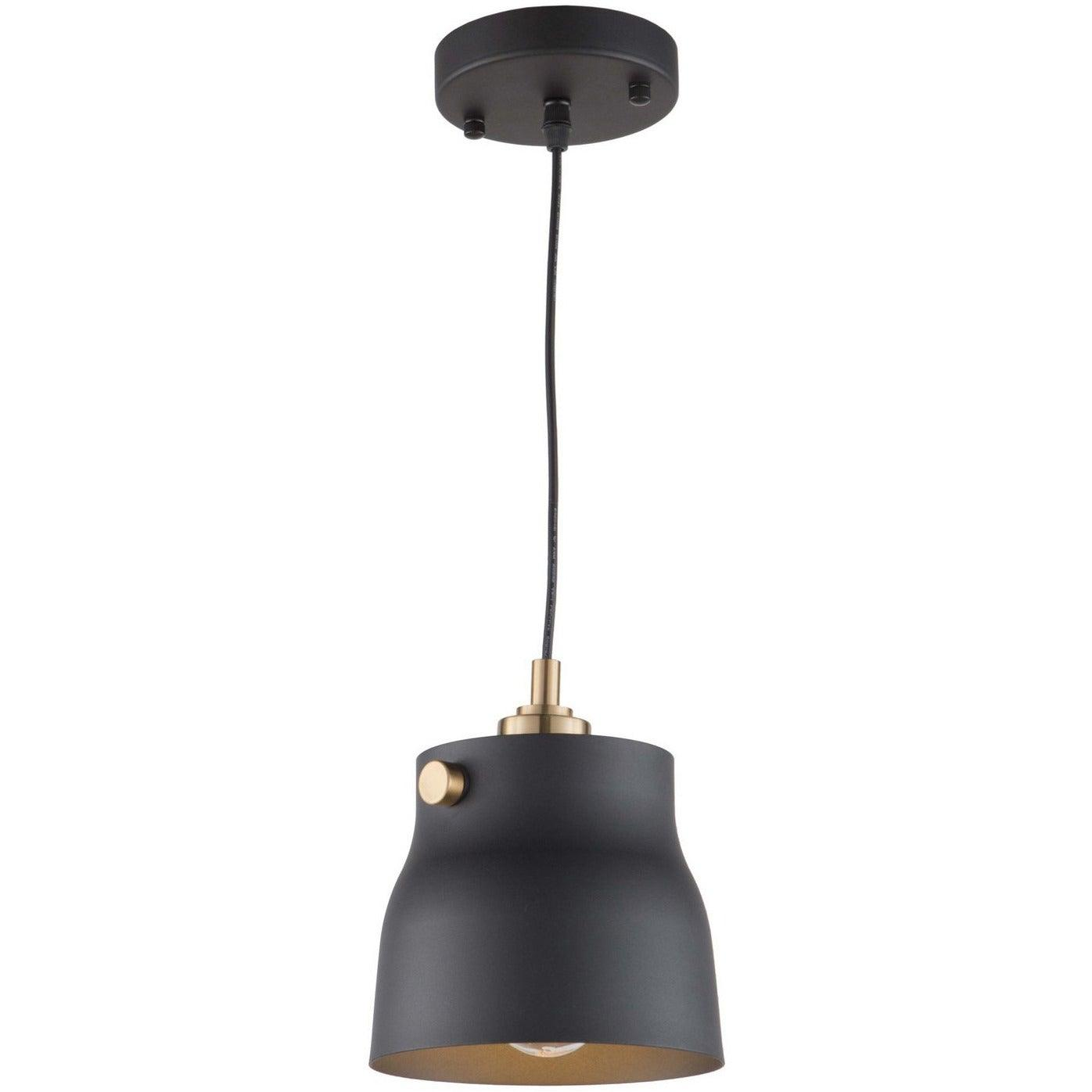Artcraft Lighting - AC11361VB - One Light Pendant - Euro Industrial - Matte Black & Harvest Brass