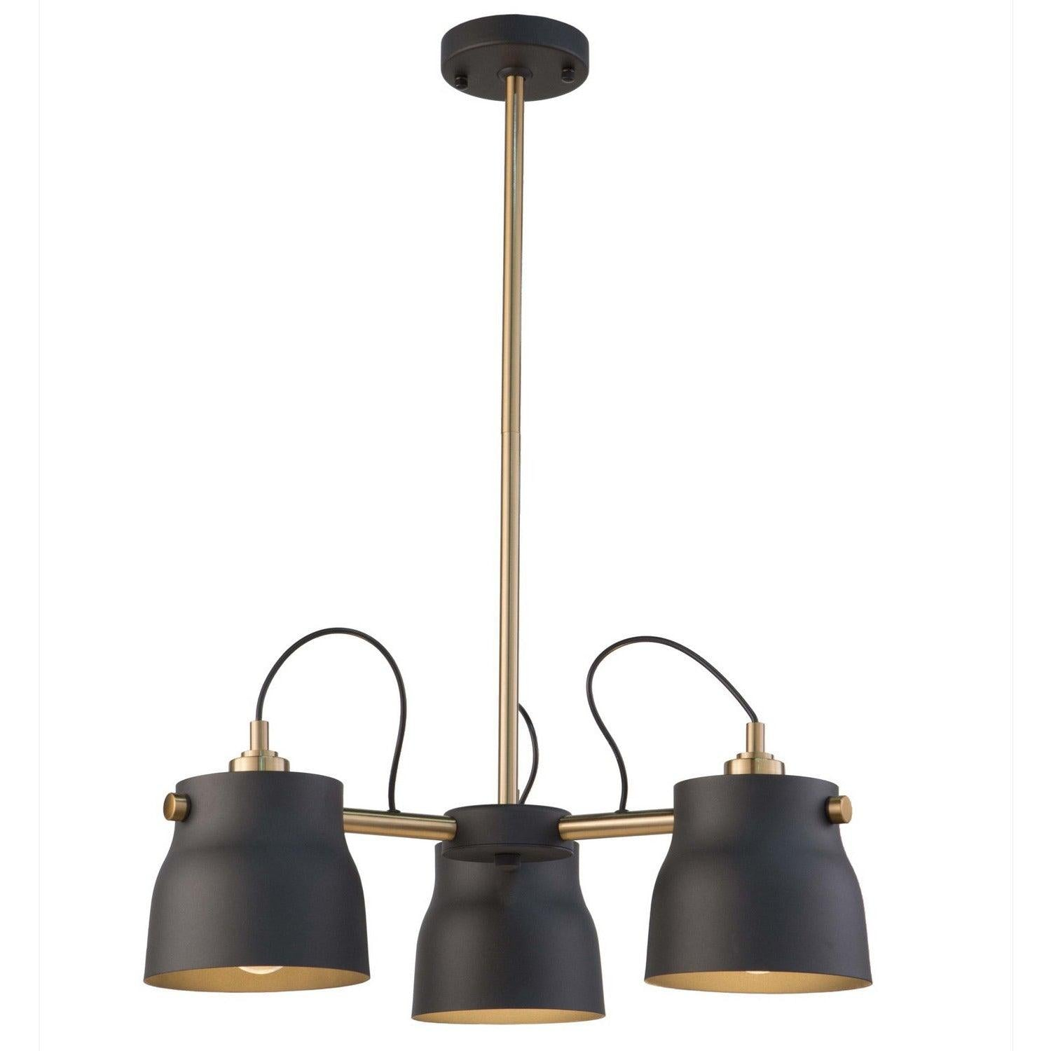 Artcraft Lighting - AC11363VB - Three Light Chandelier - Euro Industrial - Matte Black & Harvest Brass