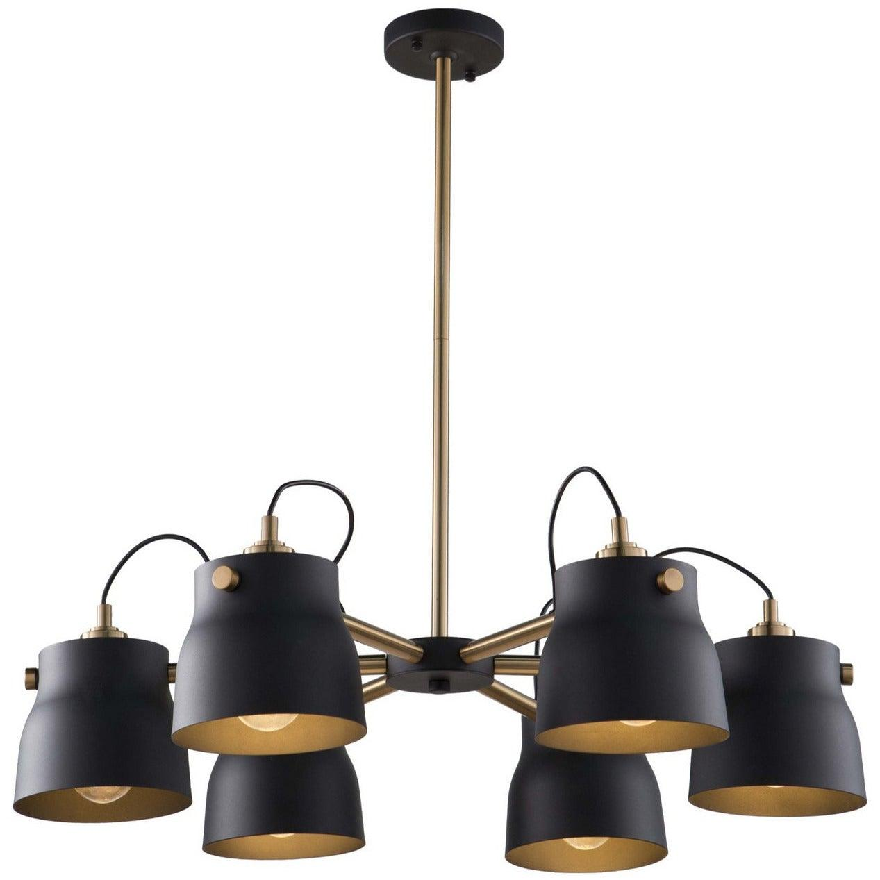 Artcraft Lighting - AC11366VB - Six Light Chandelier - Euro Industrial - Matte Black & Harvest Brass