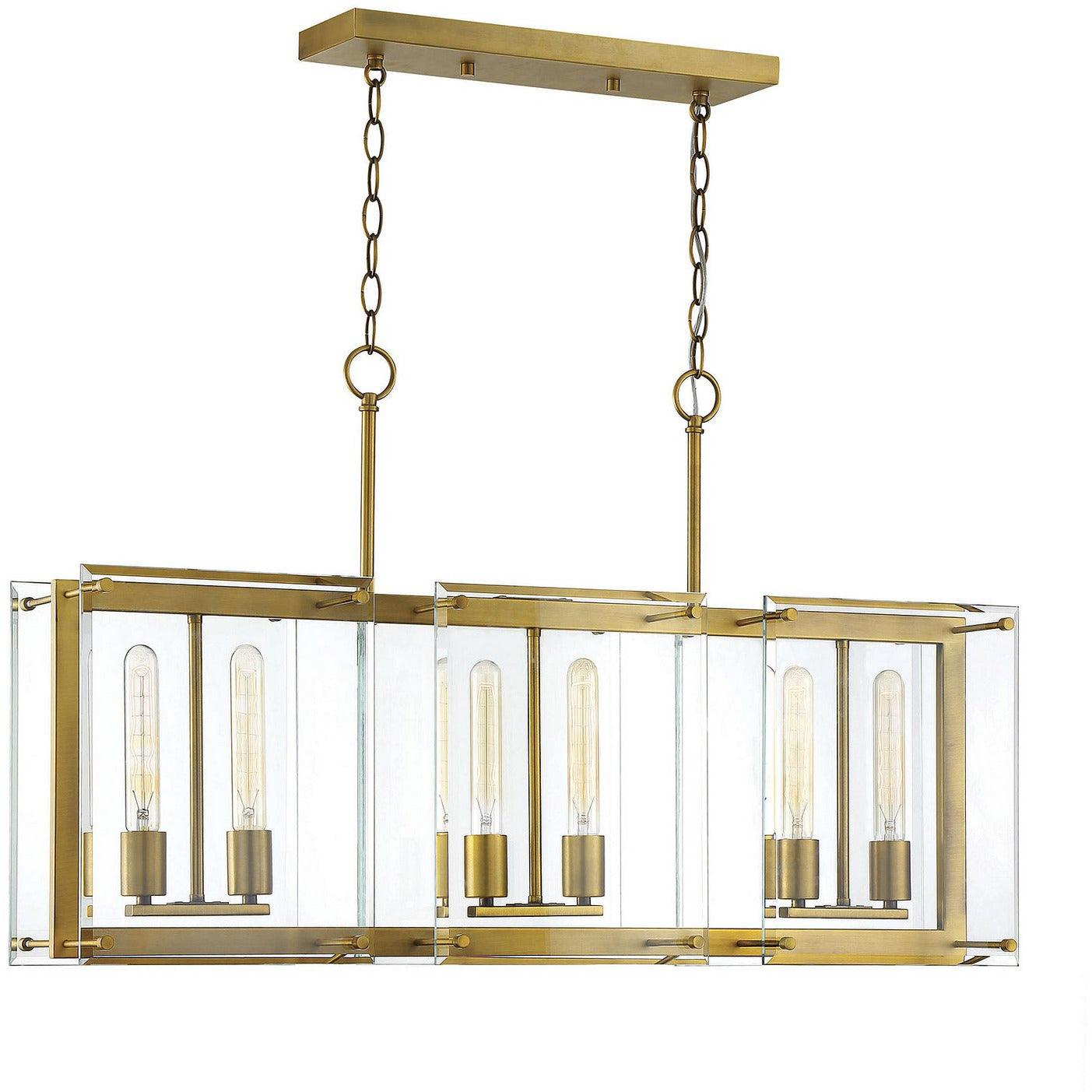 Savoy House - 1-0602-6-322 - Six Light Linear Chandelier - Prescott - Warm Brass