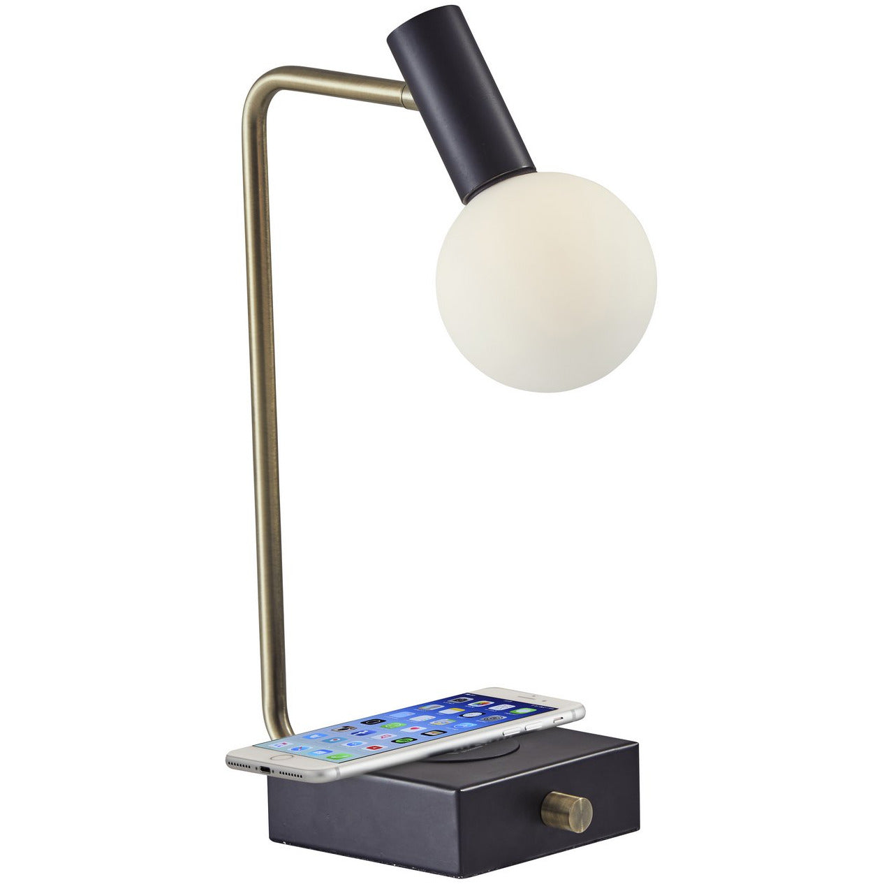 Adesso Home - 3214-01 - LED Table Lamp - Windsor - Matte Black w. Antique Brass Accents