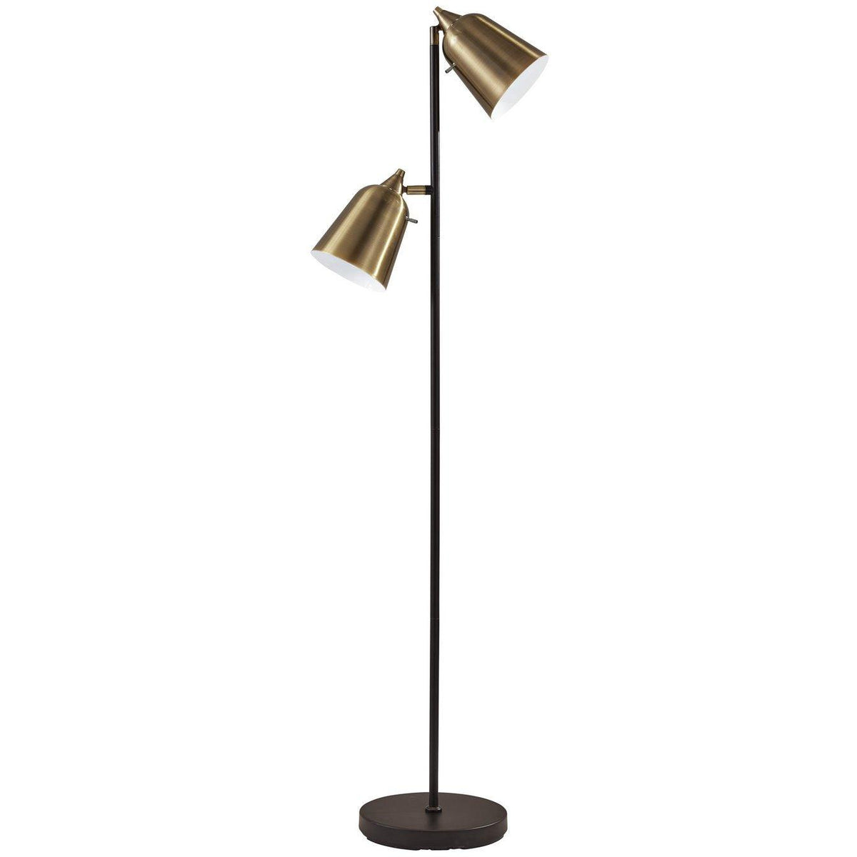 Adesso Home - 3237-01 - Two Light Floor Lamp - Malcolm - Matte Black/Antique Brass
