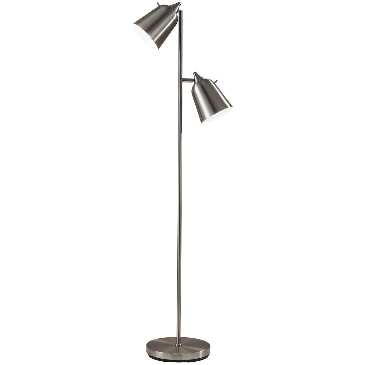 Adesso Home - 3237-22 - Two Light Floor Lamp - Malcolm - Brushed Steel
