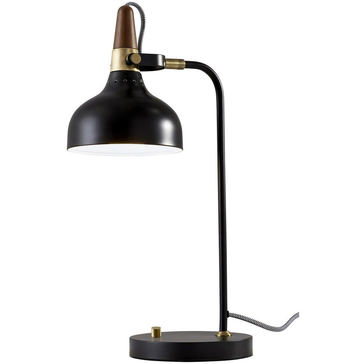 Adesso Home - 3535-01 - One Light Table Lamp - Brunswick - Black, Antique Brass/Walnut Rubberwood