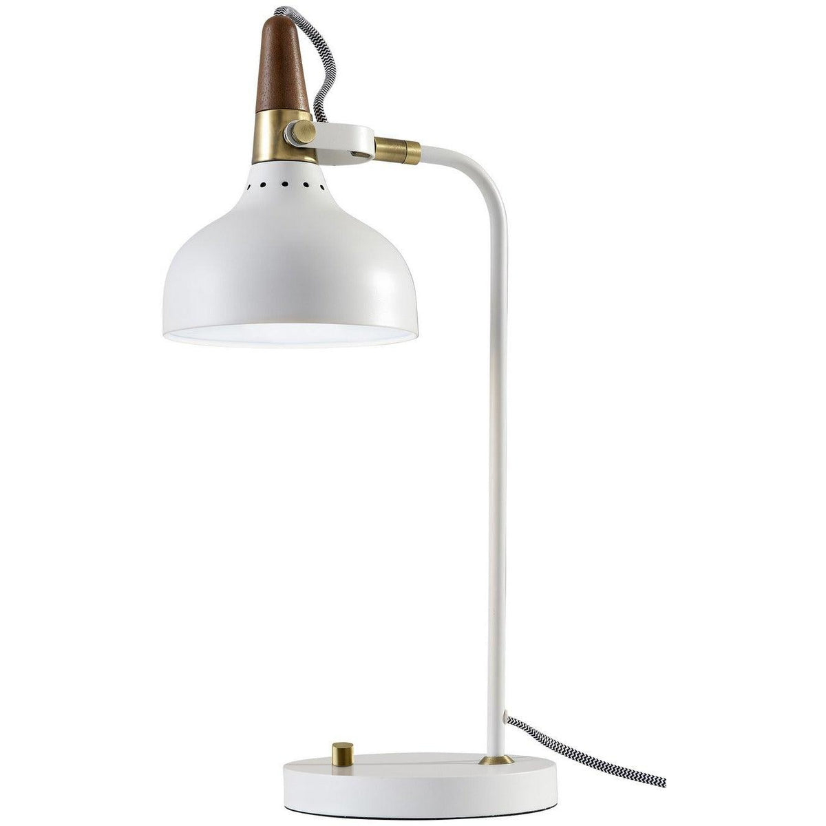 Adesso Home - 3535-02 - One Light Table Lamp - Brunswick - White, Antique Brass/Walnut Rubberwood
