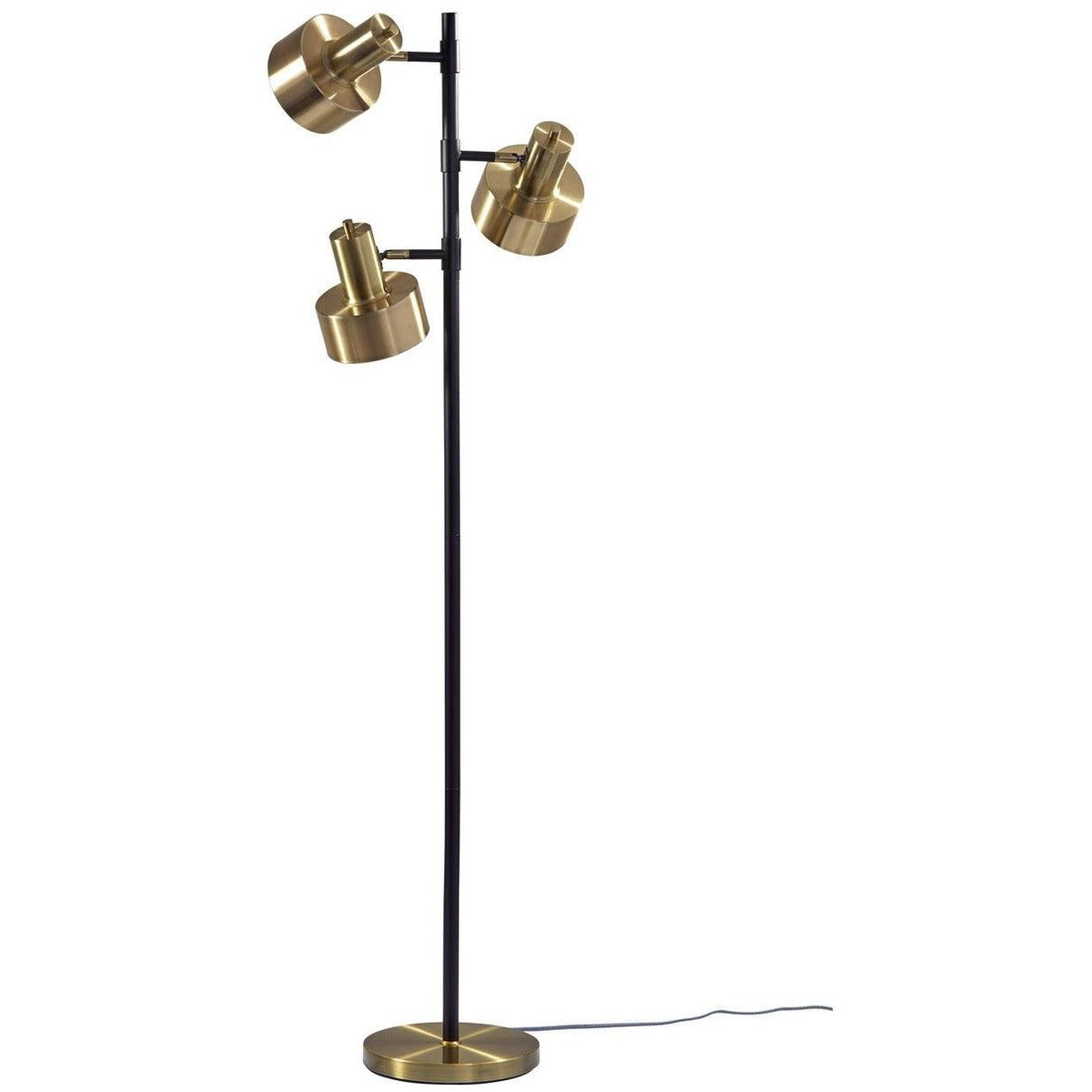 Adesso Home - 3588-01 - Three Light Floor Lamp - Clayton - Matte Black/Antique Brass