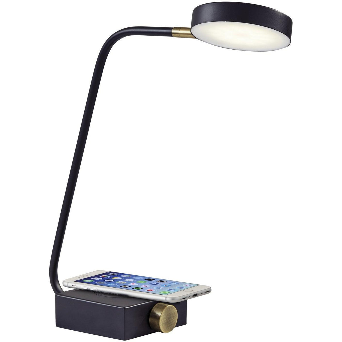 Adesso Home - 3618-01 - LED Table Lamp - Conrad - Matte Black w. Antique Brass Accents