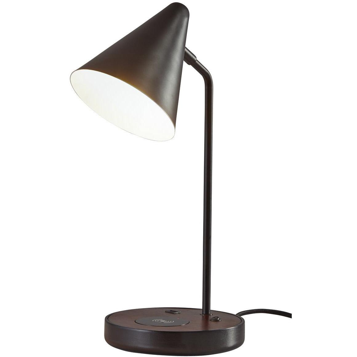 Adesso Home - 3688-01 - One Light Pendant - Oliver - Matte Black/Walnut Wood