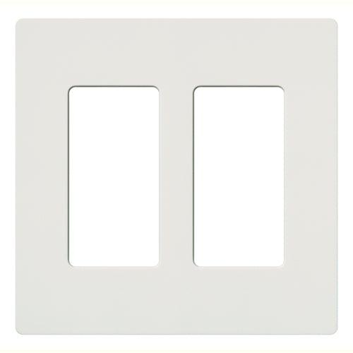 Lutron - CW-2-WH - 2-Gang Wallplate - Claro & Satin Colors - White
