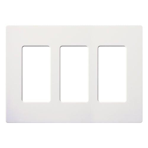 Lutron - CW-3-WH - 3-Gang Wallplate - Claro & Satin Colors - White