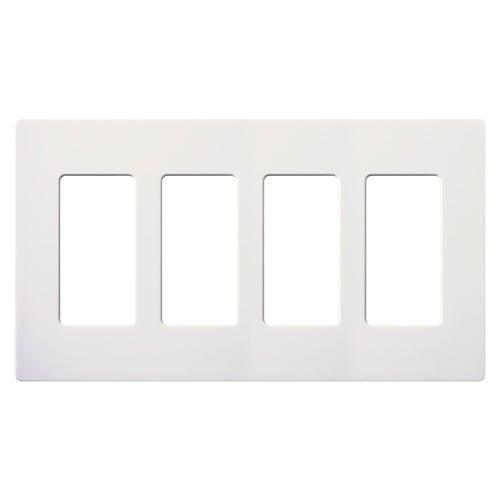 Lutron - CW-4-WH - 4-Gang Wallplate - Claro & Satin Colors - White