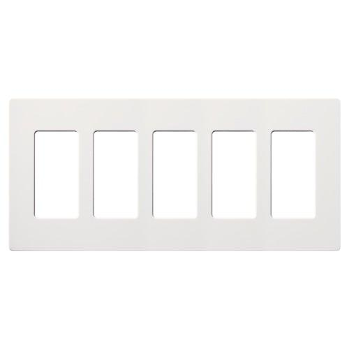 Lutron - CW-5-WH - 5-Gang Wallplate - Claro & Satin Colors - White