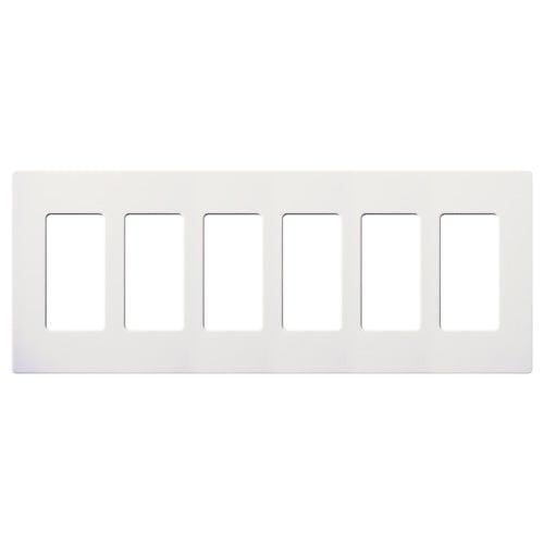 Lutron - CW-6-WH - 6-Gang Wallplate - Claro & Satin Colors - White