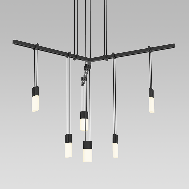 Sonneman - A Way of Light - S1C24K-JR18XX28-RP02 - Six Light Pendant - Suspenders - Satin Black