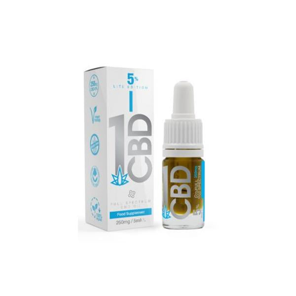 1CBD 5% Pure Hemp 250mg CBD Oil Lite Edition 5ml - cbddirect2u.store