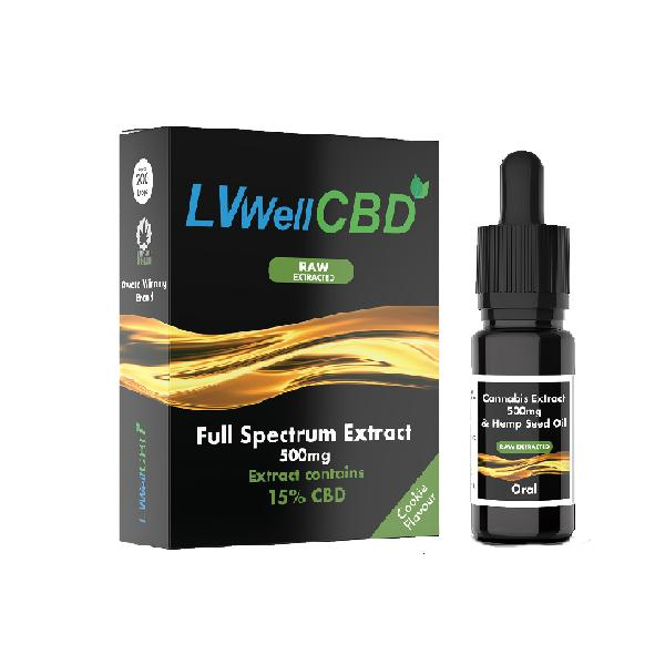LVWell CBD 500mg 10ml Raw Cannabis Oil - cbddirect2u.store