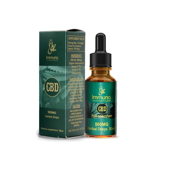 Immuno Leaf 500mg CBD Premium Organic Hemp Seed Oil 30ML