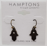Hamptons By Kate Addison Black Color Hamsa Symbol Earrings With A Diamond Inspired Stone