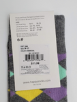 Happy Socks Women's Grey With Colorful Diamond Shapes Combed Cotton Socks