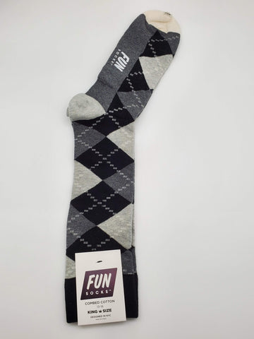 Fun Socks Black Color Diamond Shaped Pattern King Size 13-16 Socks
