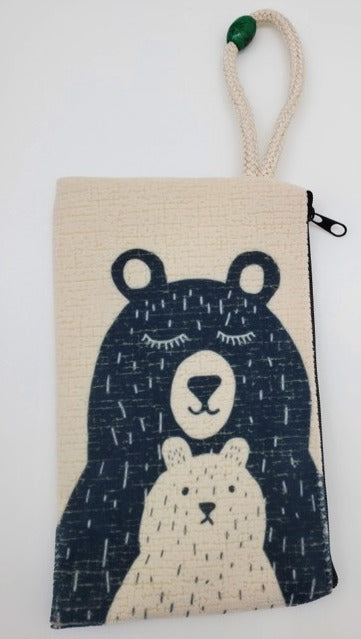 A Bear With Her Cub Velveteen On Canvas Zipper Art Bag