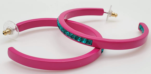 Baublebar Pink Hoops With Turquoise Colored Diamond Shaped Stones