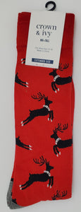 Crown & Ivy Extended Size Reindeer Socks for `12-16 Shoe Size